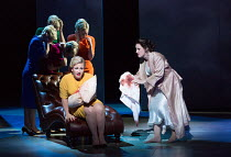 during analysis Marnie recalls a thunderstorm, a soldier, her mother and a baby - front, l-r: Sasha Cooke (Marnie), Ella Kirkpatrick (Young Mother) with (rear) Marnie's Shadows in MARNIE opening at En...