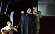 Arsace kills Semiramide - l-r: Ludovic Gwyther (child actor), Joyce DiDonato (Semiramide), Daniela Barcellona (Arsace) in SEMIRAMIDE by Gioachino Rossini opening at the The Royal Opera, Covent Garden,...