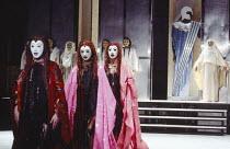 THE ORESTEIA  by Aeschylus  in a version by Tony Harrison  design: Jocelyn Herbert assisted by Sue Jenkinson  lighting: John Bury  movement: Stuart Hopps  director: Peter Hall   'Eumenides':  Chorus o...