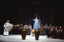 THE ORESTEIA  by Aeschylus  in a version by Tony Harrison  design: Jocelyn Herbert assisted by Sue Jenkinson  lighting: John Bury  movement: Stuart Hopps  director: Peter Hall   'Eumenides' - left: Ap...
