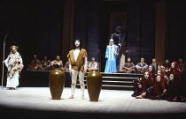 THE ORESTEIA  by Aeschylus  in a version by Tony Harrison  design: Jocelyn Herbert assisted by Sue Jenkinson  lighting: John Bury  movement: Stuart Hopps  director: Peter Hall   'Eumenides' - l-r: Apo...