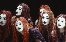 THE ORESTEIA  by Aeschylus  in a version by Tony Harrison  design: Jocelyn Herbert assisted by Sue Jenkinson  lighting: John Bury  movement: Stuart Hopps  director: Peter Hall   'Eumenides':  Chorus...