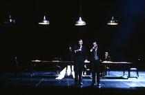 RICHARD III  by Shakespeare  design: Bob Crowley  lighting: Jean Kalman  choreography: Jane Gibson  director: Richard Eyre   l-r: Ian McKellen (Richard III), Brian Cox (Buckingham) Lyttelton Theatr...