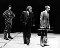 RICHARD III  by Shakespeare  design: Paul Bannister  lighting: Martin Hazlewood  director: Michael Bogdanov   centre: Bill Wallis (Richard III), part of the Action Man Trilogy - Young Vic, London SE1...