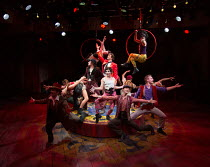 centre: Dominic Owen (Ringmaster / James A Bailey), Marcus Brigstocke (P. T. Barnum) in BARNUM opening at the Menier Chocolate Factory, London SE1 on 05/12/2017   music: Cy Coleman lyrics: Michael St...