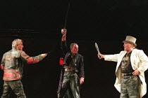 HENRY V  by Shakespeare  design: Ashley Martin-Davies  lighting: Peter Mumford  director: Ron Daniels      l-r: Stephen Casey (Nym), Alan Perrin (Bardolph), Campbell Morrison (Pistol) Royal Shakesp...