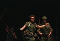 HENRY V  by Shakespeare  design: Ashley Martin-Davies  lighting: Peter Mumford  director: Ron Daniels <br>    Michael Sheen (King Henry V) Royal Shakespeare Company (RSC), Royal Shakespeare Theatre,...