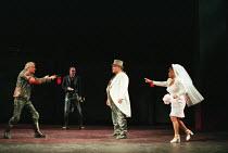 HENRY V  by Shakespeare  design: Ashley Martin-Davies  lighting: Peter Mumford  director: Ron Daniels      l-r: Stephen Casey (Nym), Alan Perrin (Bardolph), Campbell Morrison (Pistol), Dona Croll (M...