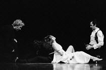 THE WHITE DEVIL  by John Webster  set design: John Gunter  costumes: Deirdre Clancy  lighting: Andy Phillips  director: Michael Lindsay-Hogg   l-r: Tom Chadbon (Gasparo), Jack Shepherd (Flamineo), G...