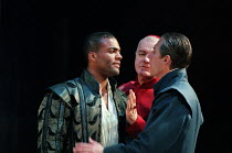 THE WHITE DEVIL  by John Webster  set design: Peter J Davison  costumes: Sue Willmington  lighting: Mark L. McCullough  fights: Terry King  director: Gale Edwards   l-r: Ray Fearon (Brachiano), Philip...