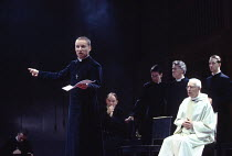 MURDER IN THE CATHEDRAL  by T.S.Eliot design: Ashley Martin-Davis   lighting: Brian Harris  director: Steven Pimlott   front left: Michael Feast (Thomas Becket)  right: Clifford Rose (2nd Priest)  Roy...