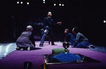MURDER IN THE CATHEDRAL  by T.S.Eliot design: Ashley Martin-Davis   lighting: Brian Harris  director: Steven Pimlott   centre: Michael Feast (Thomas Becket) with female chorus Royal Shakespeare Compan...