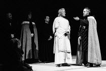 MURDER IN THE CATHEDRAL  by T.S.Eliot  design: Farrah  lighting: Stewart Leviton  director: Terry Hands   front right, l-r: Richard Pasco (Thomas Becket), Tony Church (Third Tempter / Third Knight) Ro...