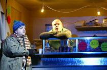LAST TO GO  by Harold Pinter  design: Miriam Buether  lighting: Johanna Town  director: Douglas Hodge l-r: Toby Jones, Jason WatkinsOxford Playhouse, Oxford, England  13/02/2004(c) Donald Cooper/Photo...