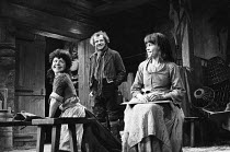 TRANSLATIONS  by Brian Friel  set design: Eileen Diss  costumes: Lindy Hemming  lighting: Gerry Jenkinson  director: Donald McWhinnie l-r: Anna Keaveney (Bridget), Ron Flanagan (Doalty), Maire Ni Ghra...