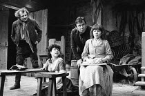 TRANSLATIONS  by Brian Friel  set design: Eileen Diss  costumes: Lindy Hemming  lighting: Gerry Jenkinson  director: Donald McWhinnie l-r: Ron Flanagan (Doalty), Anna Keaveney (Bridget), Tony Doyle (O...
