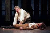 THE SPANISH TRAGEDY  by Thomas Kyd  design: Tom Piper  lighting: Robert Bryan  director: Michael Boyd Peter Wight (Hieronimo) with the body of HoratioRoyal Shakespeare Company (RSC), Swan Theatre, Str...
