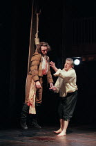 THE SPANISH TRAGEDY  by Thomas Kyd  design: Tom Piper  lighting: Robert Bryan  director: Michael Boyd   l-r: Tristan Sturrock (Horatio), Peter Wight (Hieronimo)  Royal Shakespeare Company (RSC), Swan...