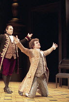 AMADEUS   by Peter Shaffer   design: Bill Dudley   director: Peter Hall ~~l-r: David Suchet (as Antonio Salieri), Michael Sheen (as Wolfgang Amadeus Mozart)  ~Old Vic Theatre, London SE1  21/10/1998...