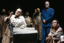 l-r:  Gerard Murphy (Oedipus), Philip Voss (Theseus), Joanne Pearce (Antigone) in OEDIPUS AT COLONUS by Sophocles at the Swan Theatre, Royal Shakespeare Company (RSC), Stratford-upon-Avon, England  25...