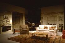 THE PHILANTHROPIST  by Christopher Hampton  set design: Eileen Diss  costumes: Jane Robinson  lighting: Leonard Tucker  director: Kenneth Ives   set,stage,empty,full,interior,furniture,University,ro...