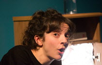 MY MUM'S A TWAT by Anoushka Warden design: Chloe Lamford lighting: Steven Binks directors: Vicky Featherstone & Jude Christian  Patsy Ferran (Girl)Jerwood Theatre Upstairs, Royal Court Theatre, London...