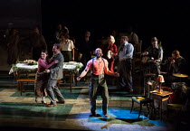 'Hurricane' - front centre: Arinze Kene (Joe Scott) in GIRL FROM THE NORTH COUNTRY by Conor McPherson opening at the Noel Coward Theatre, London WC2 on 11/01/2018   an Old Vic July 2017 production  mu...