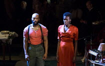 'Hurricane' - Arinze Kene (Joe Scott), Sheila Atim (Marianne Laine) in GIRL FROM THE NORTH COUNTRY by Conor McPherson opening at the Noel Coward Theatre, London WC2 on 11/01/2018   an Old Vic July 201...
