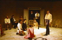 THE MAID'S TRAGEDY by Beaumont & Fletcher design: Judith Bland lighting: Leo Leibovici director: Barry Kyle  centre, seated on bed: Sinead Cusack (Evadne) right: John Carlisle (King) Royal Shakespear...