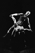 EAST written & directed by Steven Berkoff lighting: John Gorringe ~(front) Barry Philips (Les), (top) Steven Berkoff (Mike) London Theatre Group / Regent Theatre, London W1 08/1977(c) Donald Cooper/Ph...