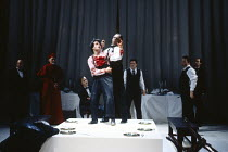 'TIS PITY SHE'S A WHORE by John Ford design: Kenny Miller director: David Leveaux  death of Giovanni - centre: Jonathan Cullen (Giovanni), Jonathan Hyde (Vasques) Royal Shakespeare Company (RSC), Sw...