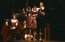 THE NEW INN by Ben Jonson design: Sue Blane lighting: Wayne Dowdeswell director: John Caird ~left: Fiona Shaw (Lady Frampul) front right: John Carlisle (Lovel) Royal Shakespeare Company (RSC), Swan Th...