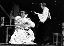THE NEW INN by Ben Jonson design: Sue Blane lighting: Wayne Dowdeswell director: John Caird l-r: Deborah Findlay (Prudence), Fiona Shaw (Lady Frampul)Royal Shakespeare Company (RSC), Swan Theatre, Str...