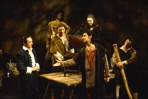 A JOVIAL CREW by Richard Brome in a new version by Stephen Jeffreys design: Fotini Dimou lighting: Wayne Dowdeswell director: Max Stafford-Clark  front, l-r: Ron Cook (Springlove), Antony Bunsee (A Be...