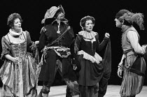 A FAIR QUARREL by Thomas Middleton & William Rowley design: Hayden Griffin lighting: Andy Phillips director: William Gaskill  l-r: Marjorie Yates (Lady Ager), Christian Burgess (Fitzallen), Gil Brail...