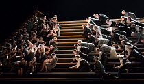 male chorus advance on female chorus of factory girls in CARMEN  by Bizet opening at The Royal Opera, Covent Garden, London WC2 on 06/02/2018    in the critical edition by Michael Rot  adapted by Co...