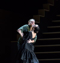 final scene, Don Jose stabs Carmen: Francesco Meli (Don Jose), Anna Goryachova (Carmen) in CARMEN  by Bizet opening at The Royal Opera, Covent Garden, London WC2 on 06/02/2018 ~ ~in the critical editi...