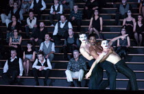three male dancers and chorus in CARMEN  by Bizet opening at The Royal Opera, Covent Garden, London WC2 on 06/02/2018 ~~in the critical edition by Michael Rot  adapted by Constantinos Carydis for Fran...