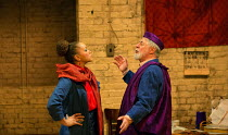 Angela Griffin (Nourmahal - The Empress), Barrie Rutter (The Emperor) in THE CAPTIVE QUEEN opening at the Sam Wanamaker Playhouse, Shakespeare.s Globe, London SE1 on 07/02/2018  a re-imagining of 'Aur...
