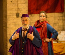 Barrie Rutter (The Emperor), Angela Griffin (Nourmahal - The Empress) in THE CAPTIVE QUEEN opening at the Sam Wanamaker Playhouse, Shakespeare's Globe, London SE1 on 07/02/2018  a re-imagining of 'Aur...