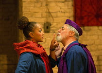 Angela Griffin (Nourmahal - The Empress), Barrie Rutter (The Emperor) in THE CAPTIVE QUEEN opening at the Sam Wanamaker Playhouse, Shakespeare's Globe, London SE1 on 07/02/2018  a re-imagining of 'Aur...