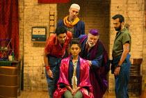 l-r: Dharmesh Patel (Morat), Silas Carson (Ariment), Neerja Naik (Indamora - The Queen), Barrie Rutter (The Emperor), Naeem Hayat (Aurangzeb) in THE CAPTIVE QUEEN opening at the Sam Wanamaker Playhous...