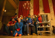 company tea break in THE CAPTIVE QUEEN opening at the Sam Wanamaker Playhouse, Shakespeare's Globe, London SE1 on 07/02/2018  a re-imagining of 'Aureng-zebe' by John Dryden a co-production with Northe...