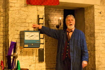 clocking out: Barrie Rutter (The Emperor) in THE CAPTIVE QUEEN opening at the Sam Wanamaker Playhouse, Shakespeare's Globe, London SE1 on 07/02/2018  a re-imagining of 'Aureng-zebe' by John Dryden a c...