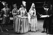 l-r: Philip Sayer (Sir Petronel Flash), Richard O'Brien (Quicksilver), Anita Dobson (Gertrude), Belinda Sinclair (Sindefy), Clive Merrison (Security) in EASTWARD HO! by Ben Jonson, George Chapman & Jo...
