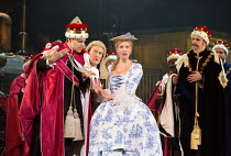 front left, l-r: Pablo Strong (Member of the House of Lords), Andrew Shore (The Lord Chancellor), Ellie Laugharne (Phyllis) in IOLANTHE by Gilbert & Sullivan opening at English National Opera (ENO), L...