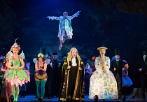 l-r: Joanne Appleby (Leila), Flick Ferdinando (Fleta), Andrew Shore (The Lord Chancellor), Ellie Laugharne (Phyllis) with Marcus Farnsworth (Strephon) flying above in IOLANTHE by Gilbert & Sullivan op...