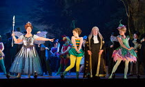 l-r: Yvonne Howard (Queen of the Fairies), Llio Evans (Celia), Andrew Shore (The Lord Chancellor), Joanne Appleby (Leila) in IOLANTHE by Gilbert & Sullivan opening at English National Opera (ENO), Lon...