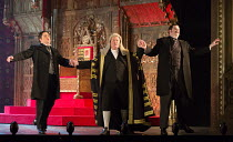 l-r: Ben Johnson (Earl of Tolloller), Andrew Shore (The Lord Chancellor), Ben McAteer (Earl of Mountararat) in IOLANTHE by Gilbert & Sullivan opening at English National Opera (ENO), London Coliseum W...