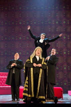 l-r: Ben Johnson (Earl of Tolloller), Andrew Shore (The Lord Chancellor), Richard Leeming (Page), Ben McAteer (Earl of Mountararat) in IOLANTHE by Gilbert & Sullivan opening at English National Opera...